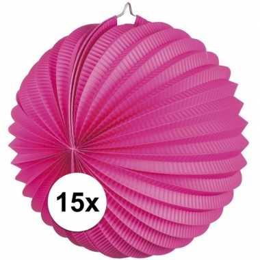 15x lampionnen fuchsia roze 22 cm