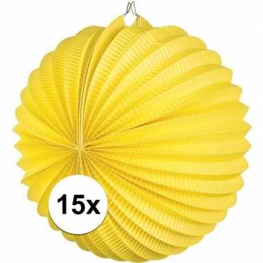 15x lampionnen geel 22 cm