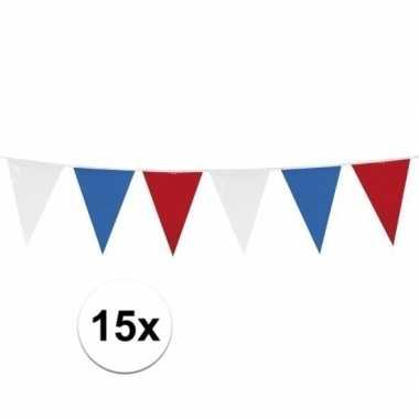 15x rood/wit/blauwe vlaggetjes lijnen