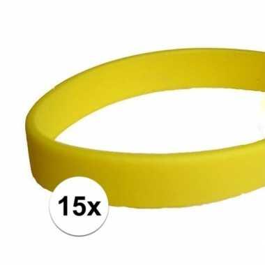 15x siliconen armbandjes geel