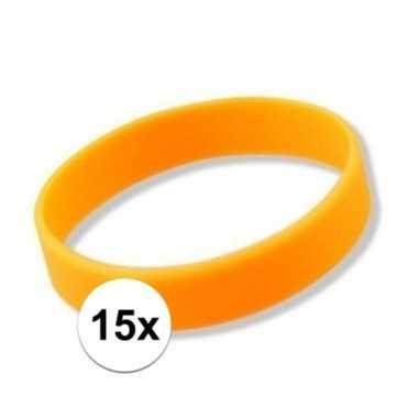 15x siliconen armbandjes neon oranje