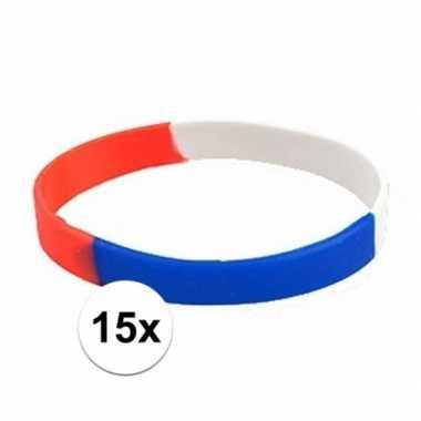 15x siliconen armbandjes rood wit blauw