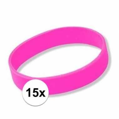 15x siliconen armbandjes roze
