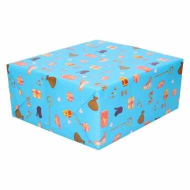 15x sinterklaas inpakpapier/cadeaupapier lichtblauw 250 x 70 cm