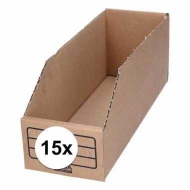 15x sorteer/opslag bakjes 10 x 30 cm van karton