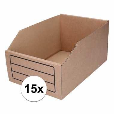 15x sorteer/opslag bakjes 20 x 30 cm van karton