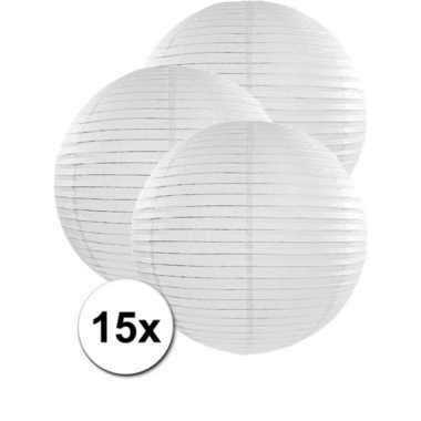 15x stuks witte luxe lampionnen van 50 cm