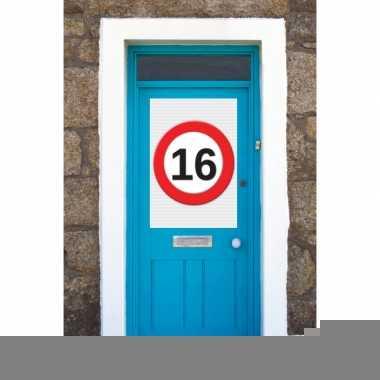 16 jaar verkeersbord deurposter a1