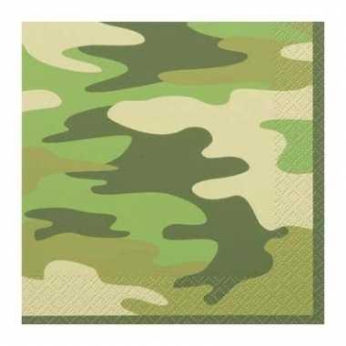 16 servetjes van papier in camouflage kleur