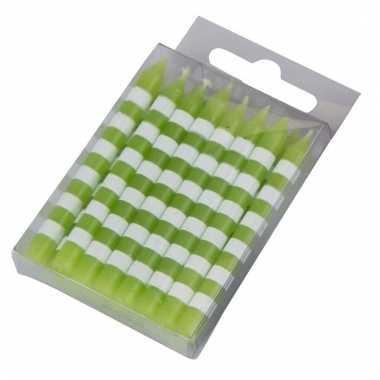 16 taartkaarsjes groen/wit