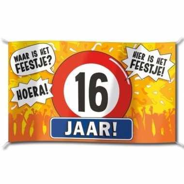 16e verjaardag straatvlag 100x150 cm