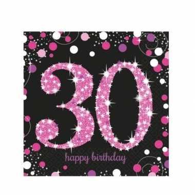 16x 30 jaar servetten zwart/roze