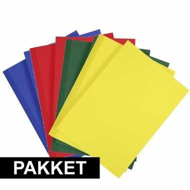 16x a4 hobby karton blauw/rood/donkergroen/geel