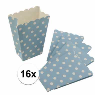 16x blauwe wegwerp popcornbakjes met witte stippen