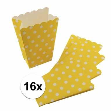 16x gele wegwerp popcornbakjes met witte stippen