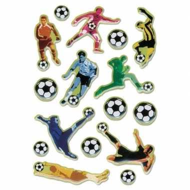 16x voetbal stickers met 3d effect met zacht kunststof