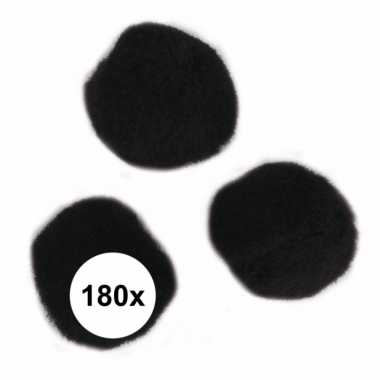 180x knutsel pompons15 mm zwart