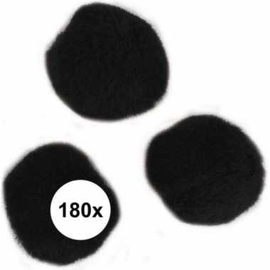 180x zwarte knutsel pompons 15 mm
