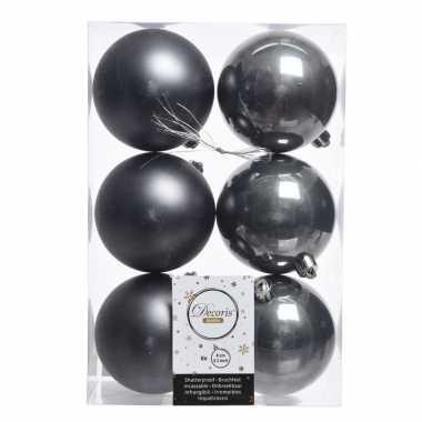 18x antraciet kerstversiering kerstballen kunststof 8 cm