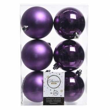 18x paarse kerstversiering kerstballen kunststof 8 cm