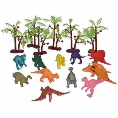 18x plastic speelgoed dinosaurussen in emmer