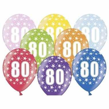 18x stuks ballonnen 80 met sterretjes