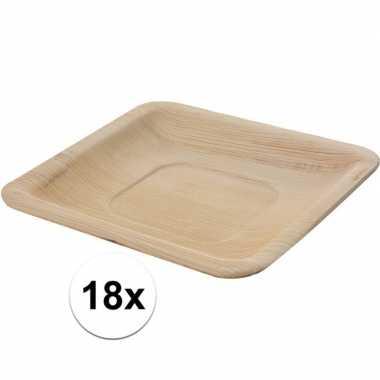 18x wegwerp bordjes palmblad 16 cm biologisch afbreekbaar