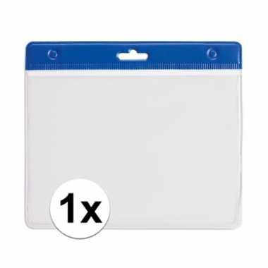 1x blauwe naamkaarthouder voor beurzen 11,2 x 58 cm