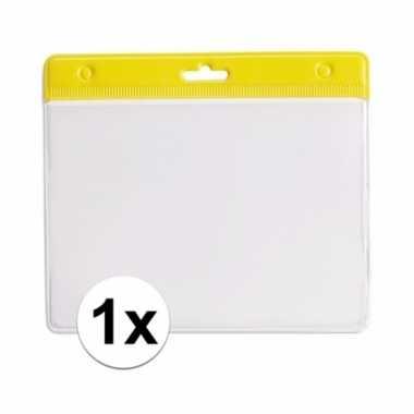1x gele naamkaarthouder voor beurzen 11,2 x 58 cm