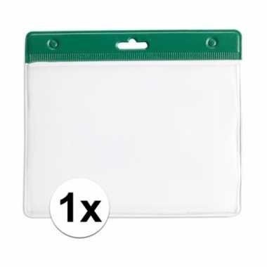 1x groene naamkaarthouder voor beurzen 11,2 x 58 cm