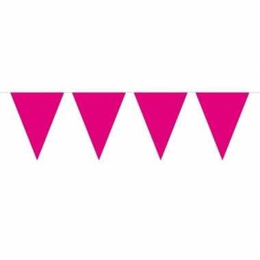 1x mini vlaggenlijn / slinger magenta roze 300 cm
