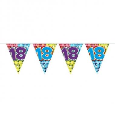 1x mini vlaggenlijn / slinger verjaardag versiering 18 jaar