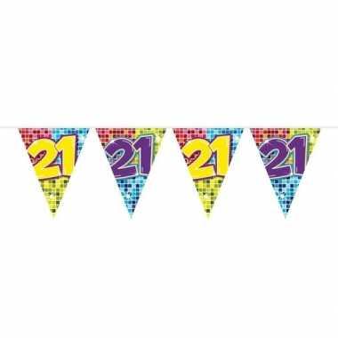 1x mini vlaggenlijn / slinger verjaardag versiering 21 jaar