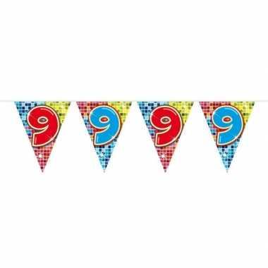 1x mini vlaggenlijn / slinger verjaardag versiering 9 jaar