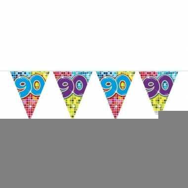 1x mini vlaggenlijn / slinger verjaardag versiering 90 jaar