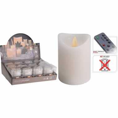 1x witte led stompkaars flame 10 cm met flakkerende vlam