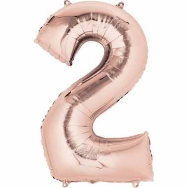 2 jaar versiering cijfer ballon rose goud