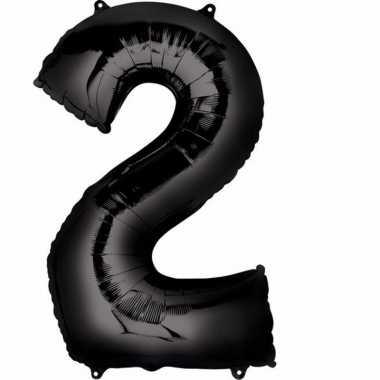 2 jaar versiering cijfer ballon zwart