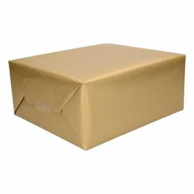 2 rollen cadeaupapier/inpakpapier goud 500 x 50 cm op rol