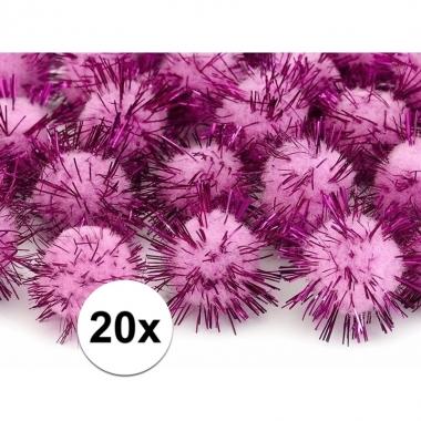 20 roze knutsel pompons 20 mm