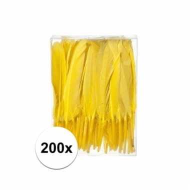 200x gele sier veren 13 cm