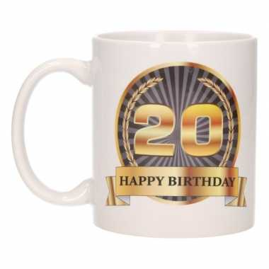 20e verjaardag cadeau beker / mok 300 ml