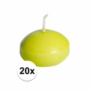 20x drijfkaarsen lime groen 4,5 cm