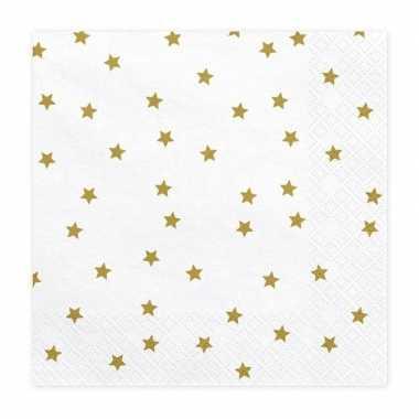 20x kerst servetten met gouden sterren 33 cm