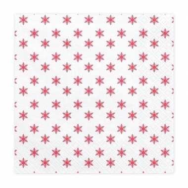 20x kerst servetten met rode sterren 33 cm