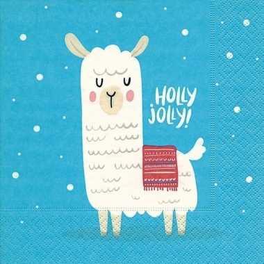 20x lama/alpaca kerst servetten blauw 33 x 33 cm