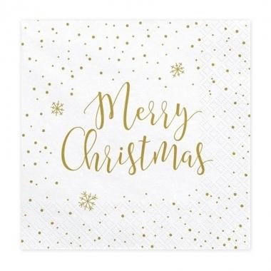 20x merry christmas kerst servetten 33 cm