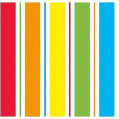 20x regenboog kleuren servetten 33 x 33 cm
