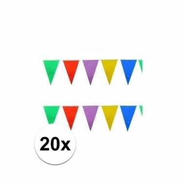 20x stuks feest vlaggenlijnen 10 meter