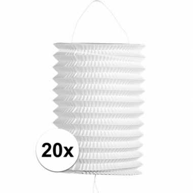 20x stuks witte trek lampionnen van 16 cm